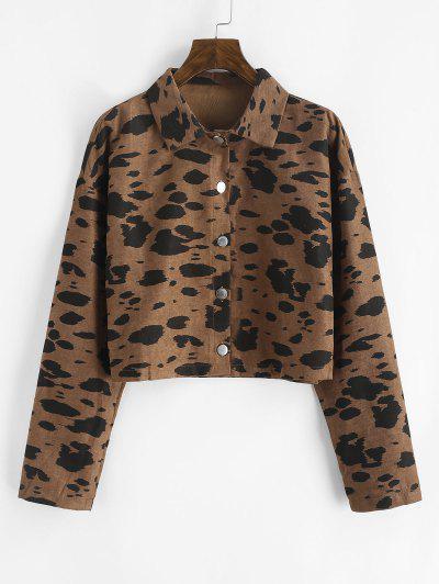 Leopard Print Cropped Corduroy Jacket - Coffee S