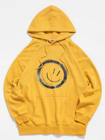 Lounge Smiley Face Graphic Pouch Pocket Hoodie - Yellow Xl