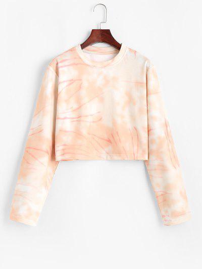 Cropped Tie Dye Pullover Sweatshirt - Light Pink S