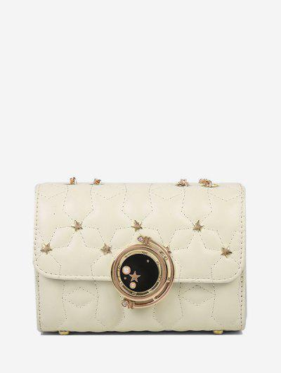 Star Chain Rectangle Crossbody Bag - White