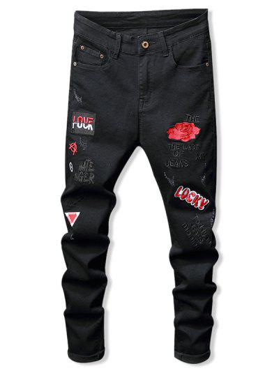 Floral Letter Embroidery Zipper Fly Casual Pencil Jeans - Black 34