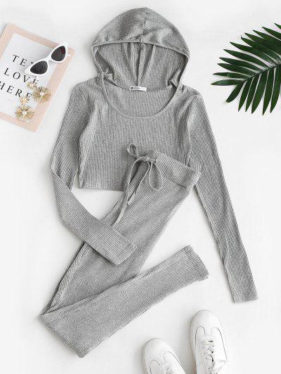 Ribbed Hooded Drawstring Skinny Pants Set - Dark Gray S