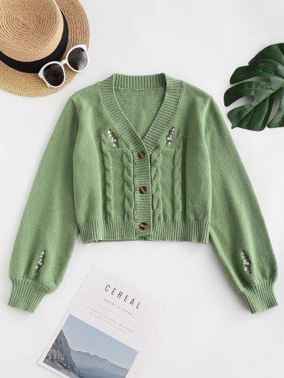 Button Up Embroidered Cable Knit Cardigan - Light Green