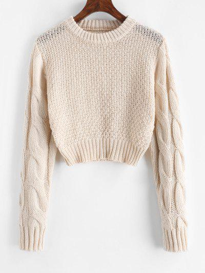 Crew Neck Cropped Cable Knit Sweater - Light Coffee