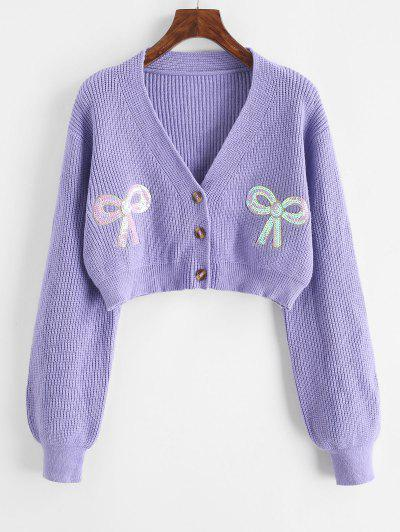 ZAFUL Button Up Bowknot Sequins Cropped Cardigan - Purple M