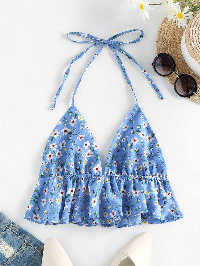 ZAFUL Halter Ditsy Print Flounce Top - Light Sky Blue M