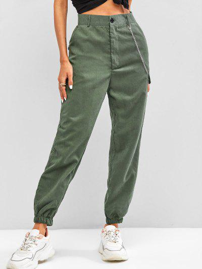 High Waisted Flap Detail Chain Pants - Hazel Green M