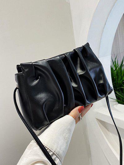Pleated Solid Crossbody Bag - Black
