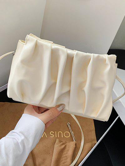 Pleated Solid Crossbody Bag - White
