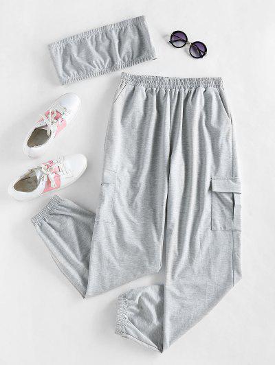 ZAFUL Strapless Crop Top And Sweatpants Set - Light Gray M