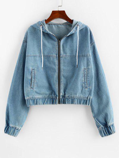 ZAFUL Drawstring Hooded Denim Jacket - Blue Xl