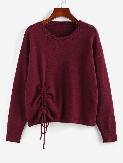ZAFUL Drop Shoulder Cinched Sweater - Deep Red S