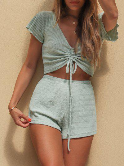 Textured Cinched Raglan Sleeve Loose Shorts Set - Light Green M