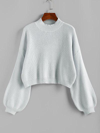 ZAFUL Lantern Sleeve Short Sweater - Baby Blue M