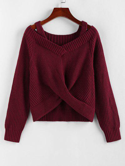 ZAFUL Twisted Raglan Sleeve Cold Shoulder Jumper Sweater - Deep Red M
