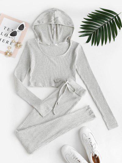 Ribbed Hooded Drawstring Skinny Pants Set - Light Gray M
