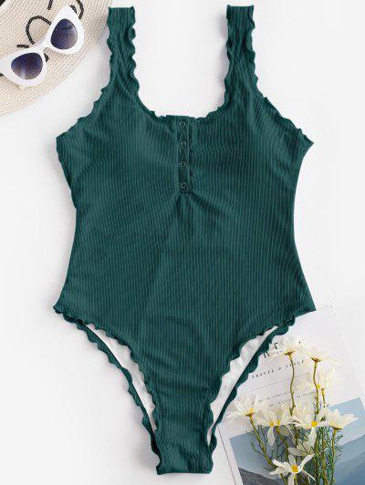 ZAFUL Ribbed Snap Button Backless One-piece Swimsuit - Deep Green M