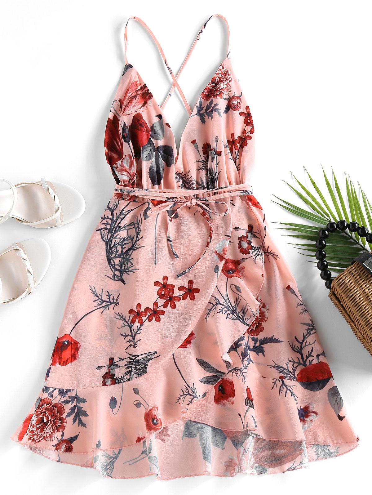 ZAFUL Criss Cross Floral Ruffles Mini Dress