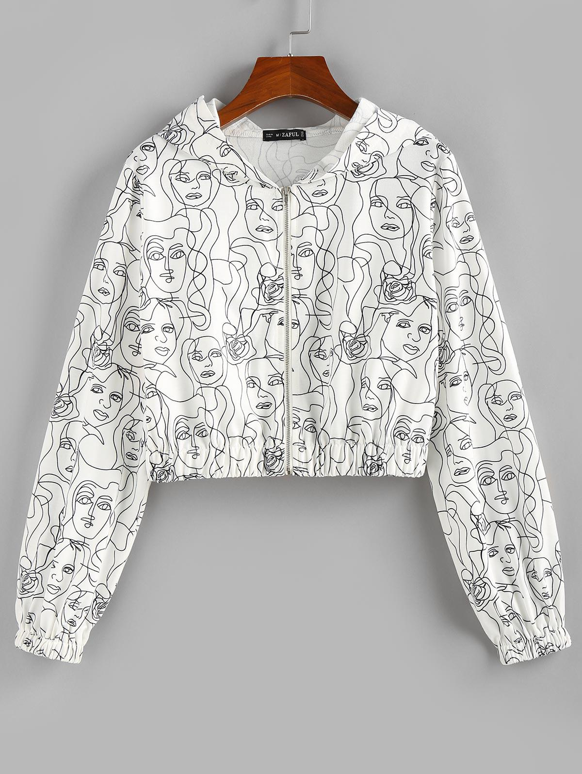 ZAFUL Hooded Face Sketch Print Crop Jacket