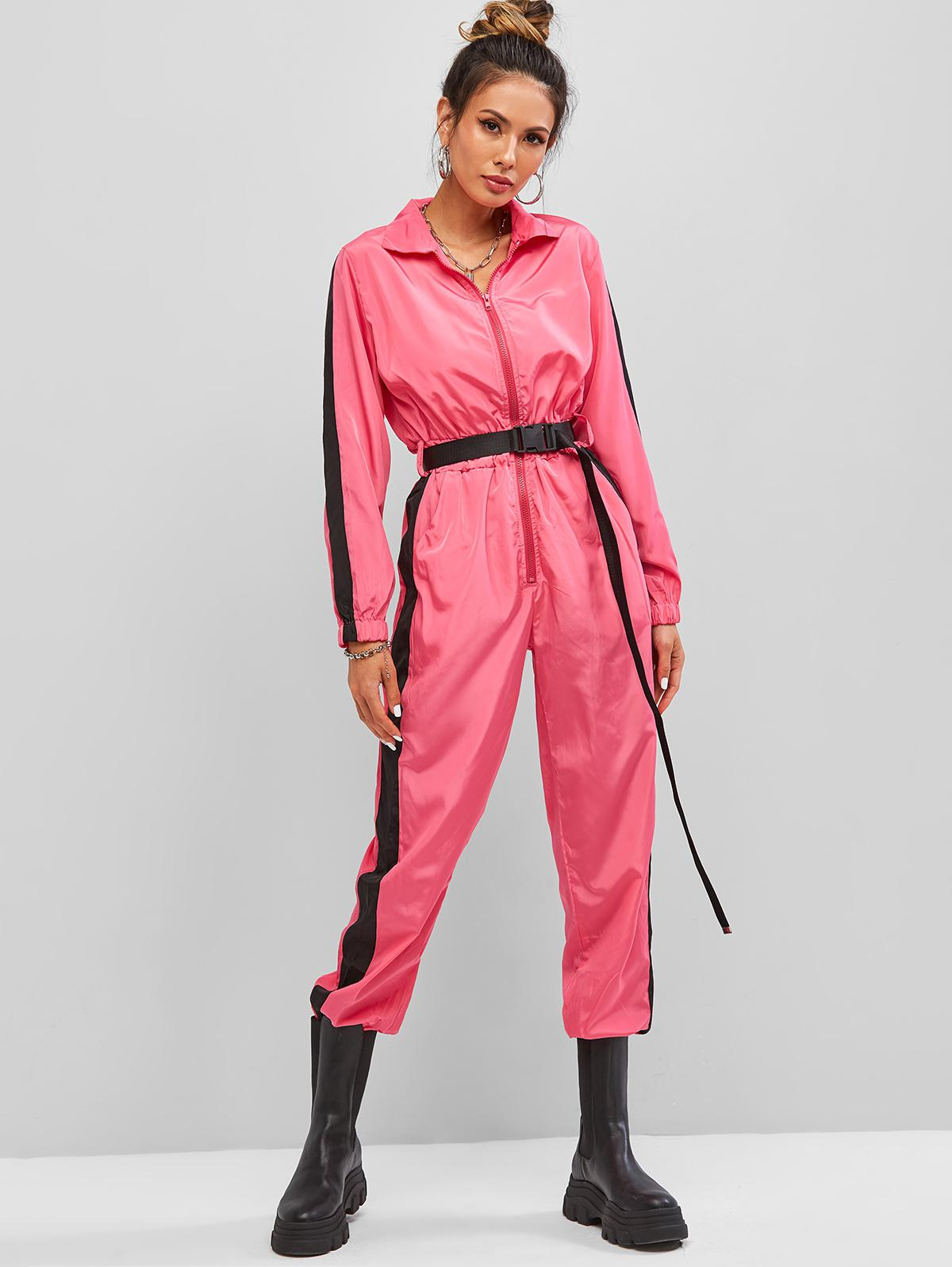 Contrast Half Zip Buckle Belted Coveralls Jumpsuit