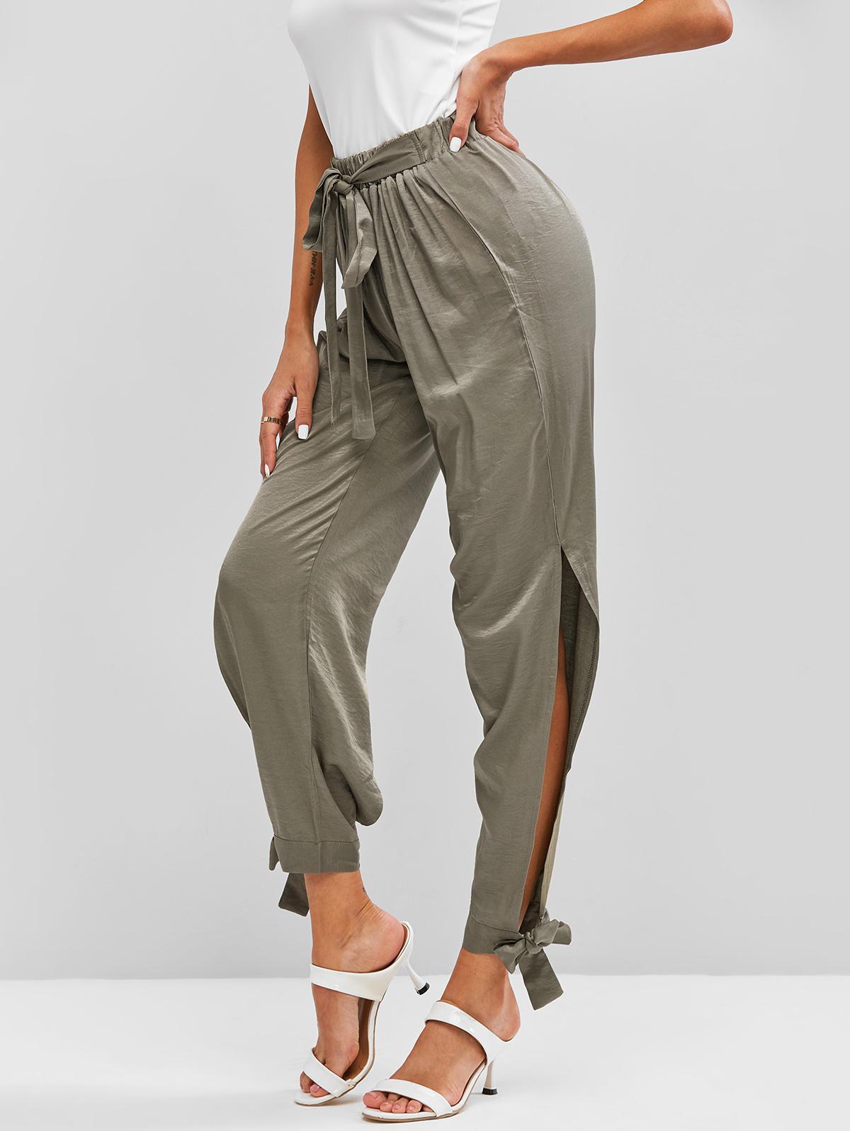 Tie Waist Split Solid Pull On Pants