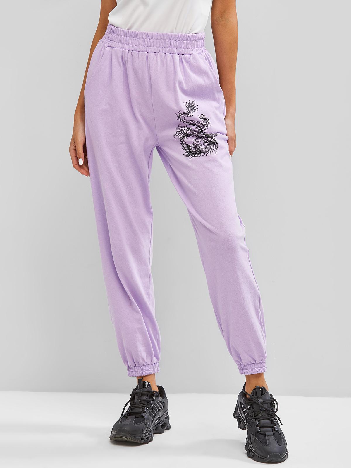 ZAFUL Pockets Dragon Oriental Jogger Sweatpants