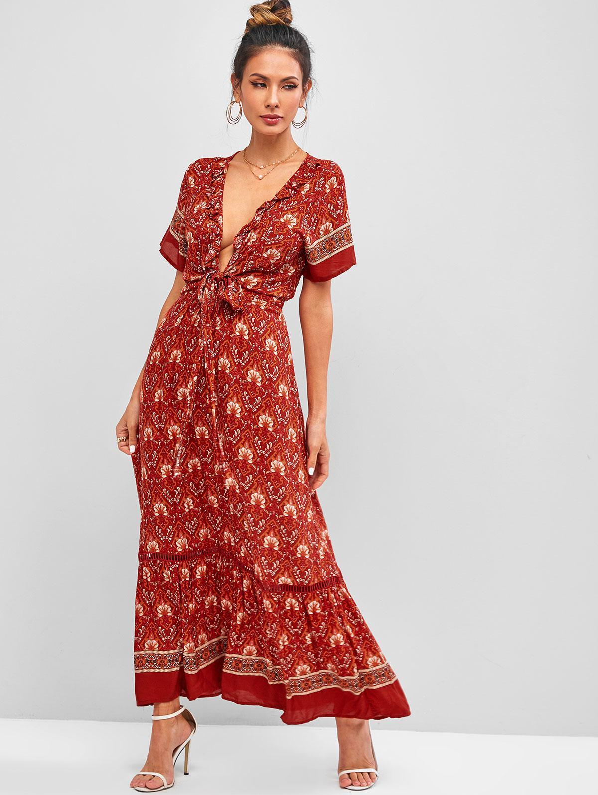 Bohemain Printed Tie Front Ruffles Maxi Dress