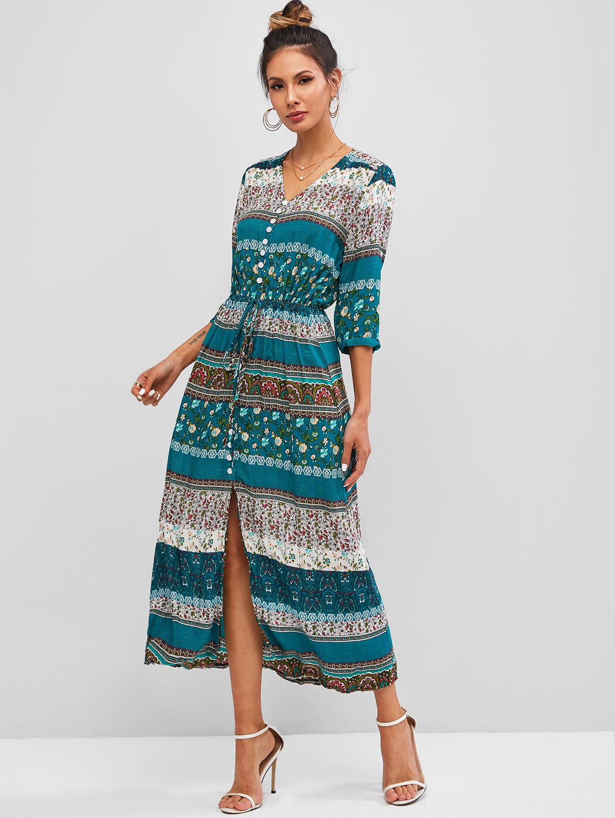 Bohemian Print Drawstring Button Loop Midi Dress