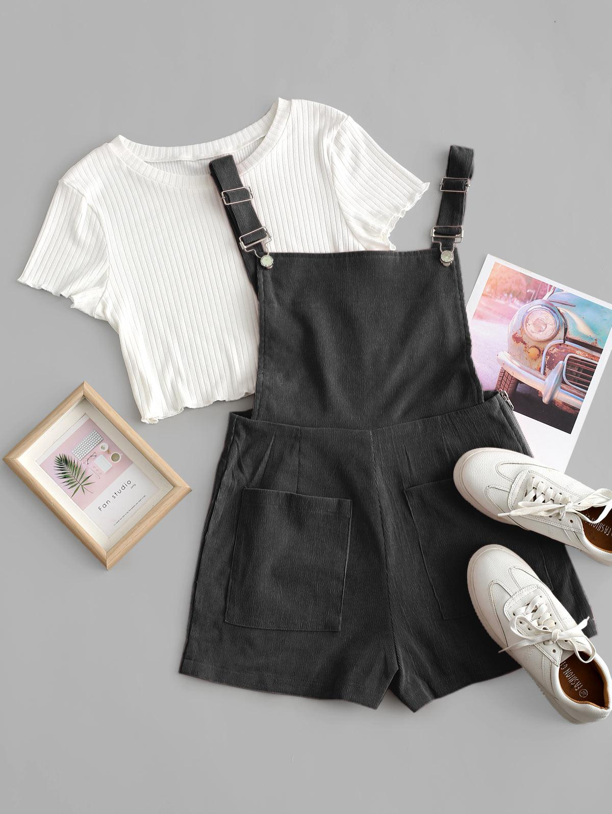 Pockets Corduroy Pinafore Romper with Top