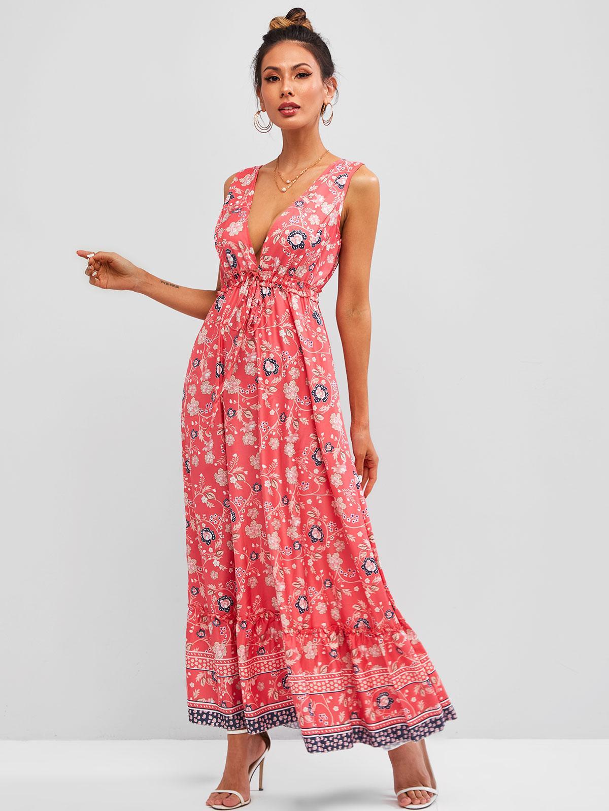 Ditsy Floral Tied Ruffle Hem Sleeveless Maxi Dress