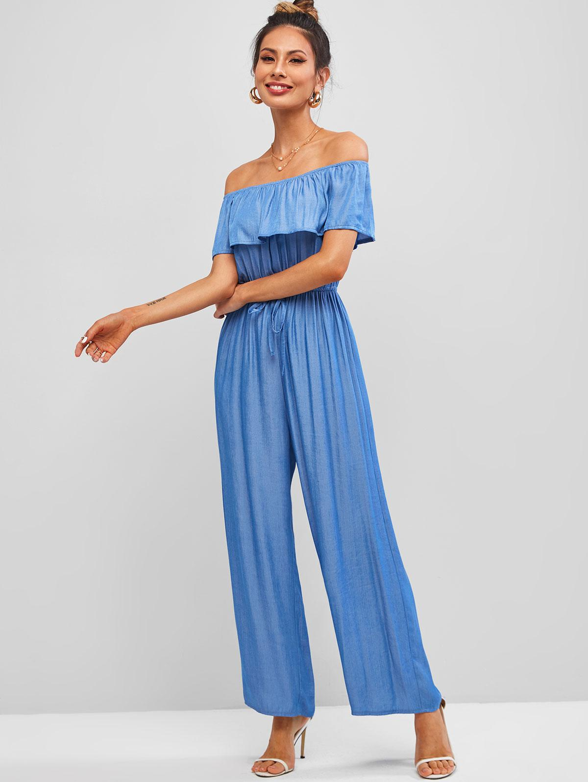 ZAFUL Off Shoulder Flounce Chambray Wide Leg Jumpsuit