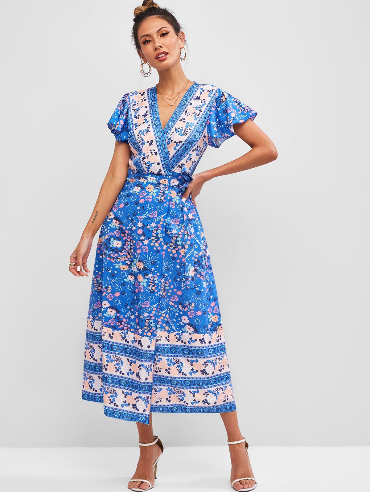 Ditsy Floral V Neck Belted Wrap Long Dress