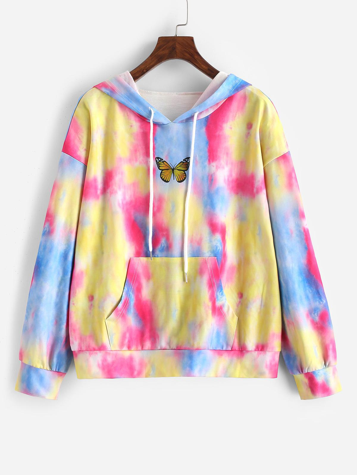 Tie Dye Butterfly Graphic Front Pocket Hoodie