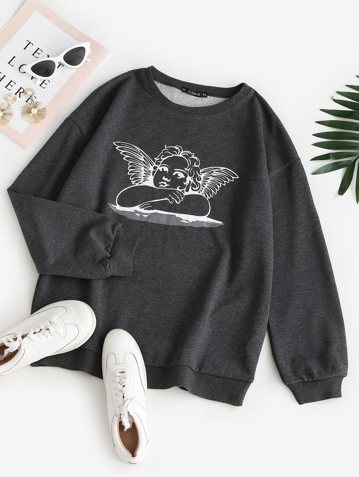 Angel Print Drop Shoulder Pullover Sweatshirt
