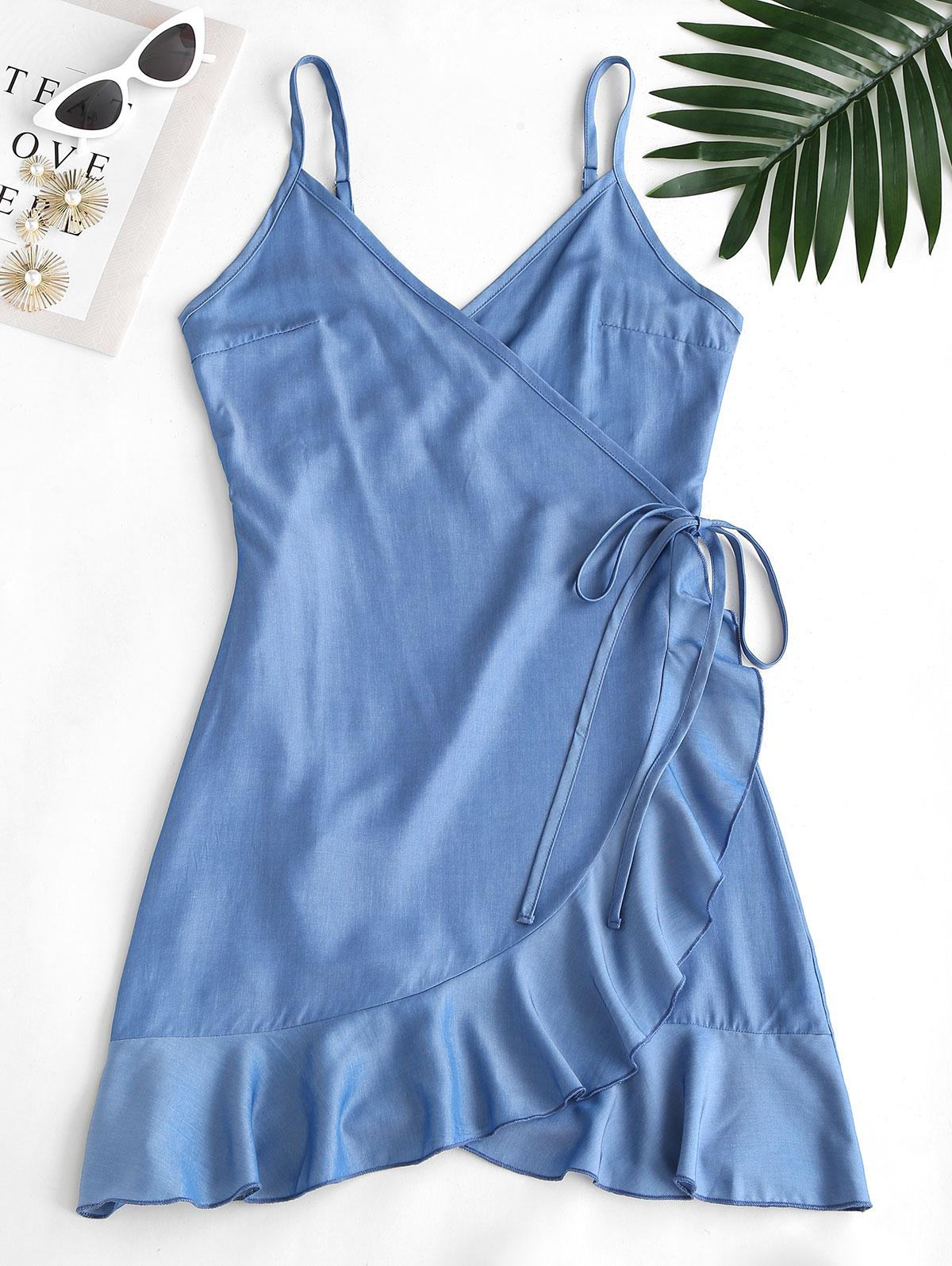 ZAFUL Sheeny Chambray Flounce Wrap Dress