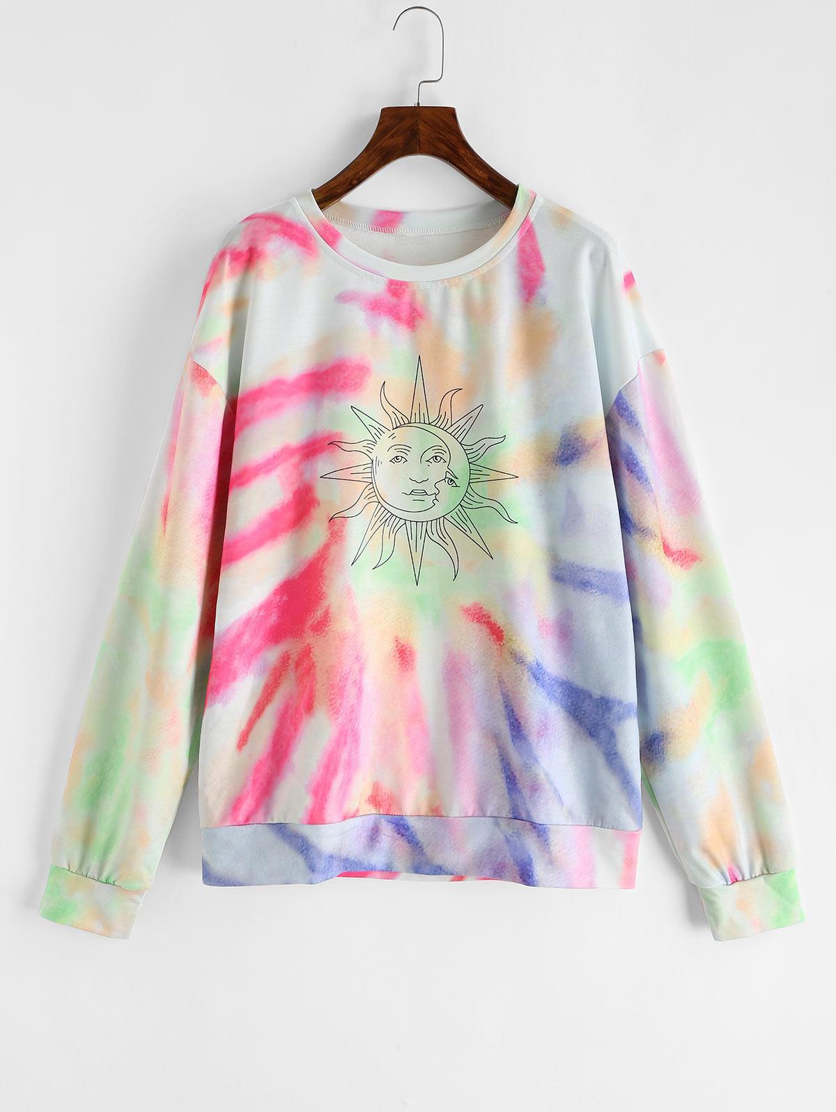 Drop Shoulder Sun Tie Dye Sweatshirt