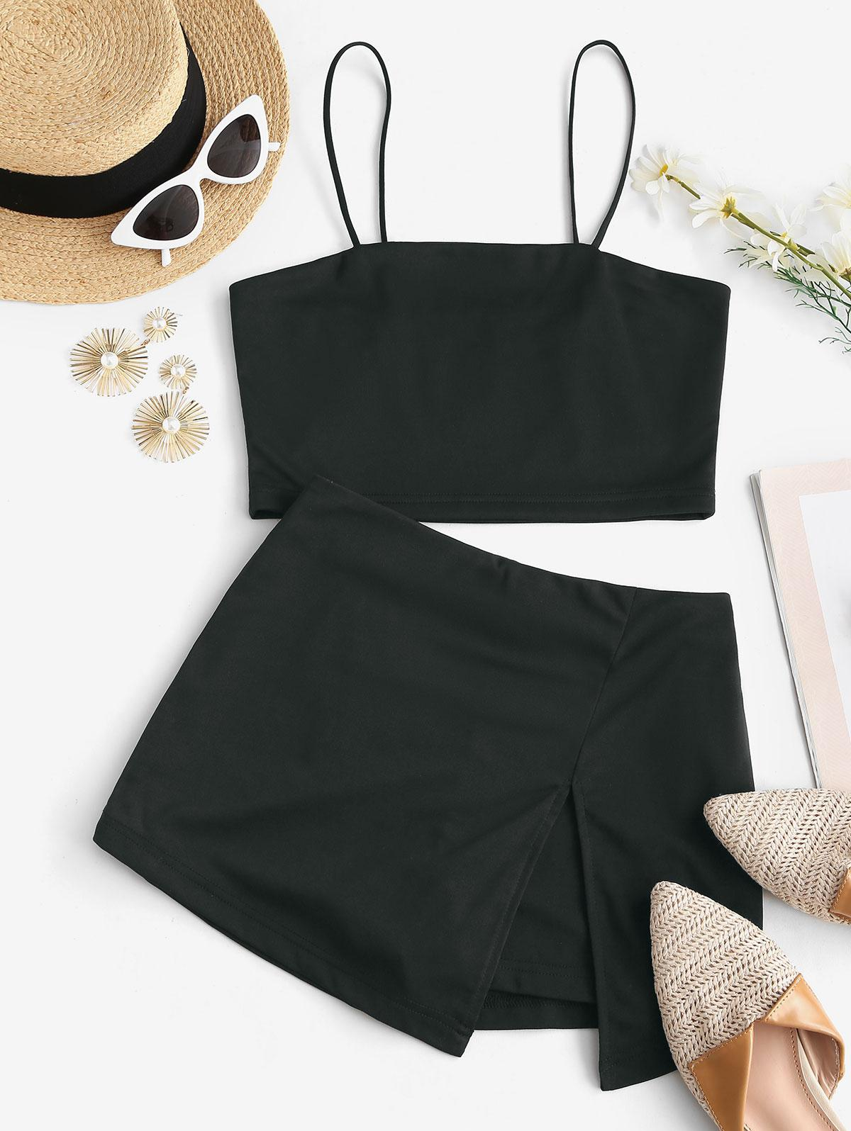 Bungee Strap Two Piece Skorts Set