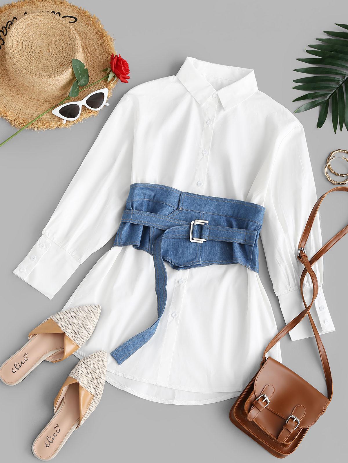 Button Up Mini Shirt Dress with Denim Corset
