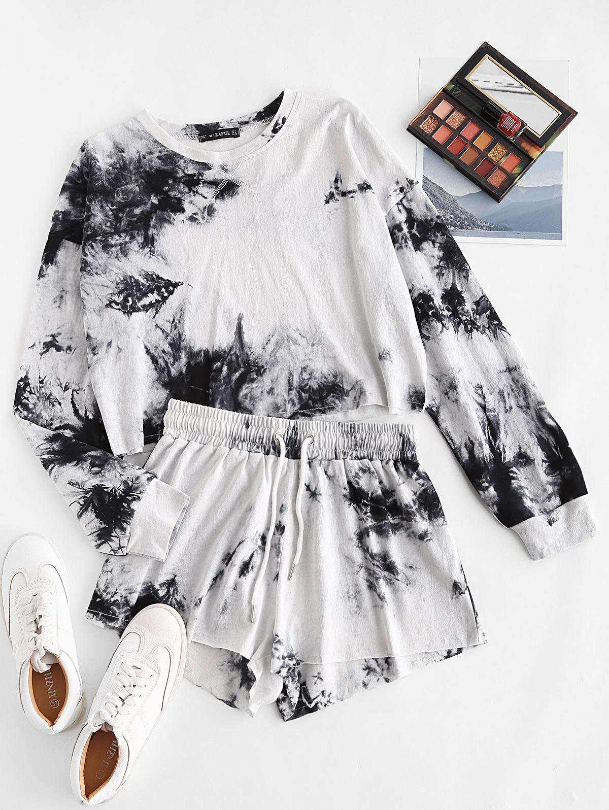 Sweat Tie Dye Raw Hem Two Piece Shorts Set