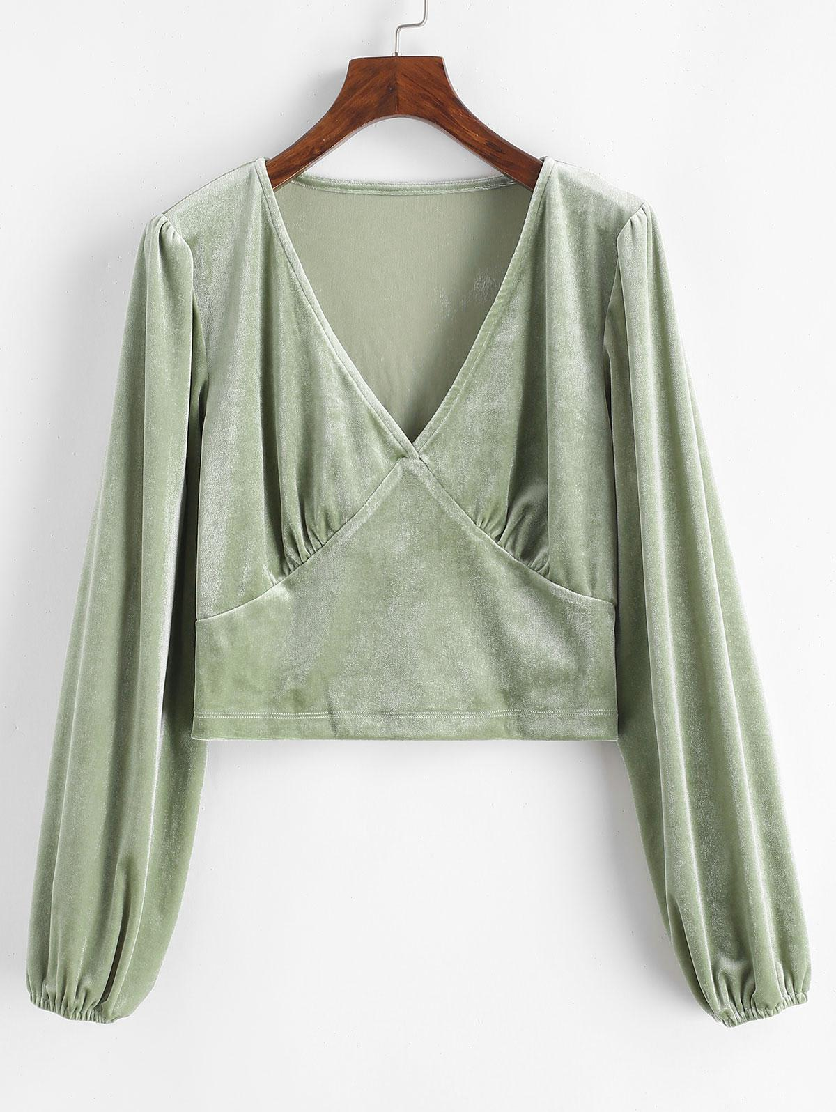 Crushed Velvet Long Sleeve Top