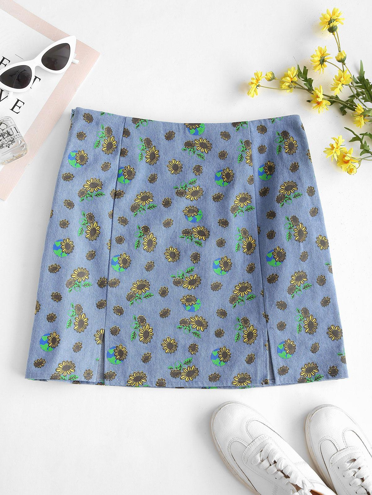 ZAFUL M-slit Sunflower Print Denim Skirt