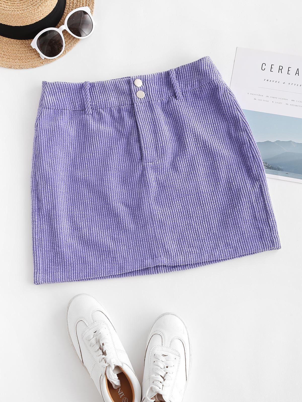 ZAFUL Corduroy Pelmet Skirt