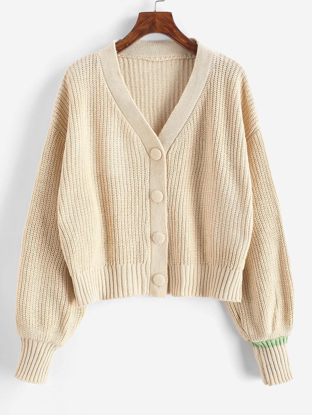 Drop Shoulder V Neck Button Up Cardigan