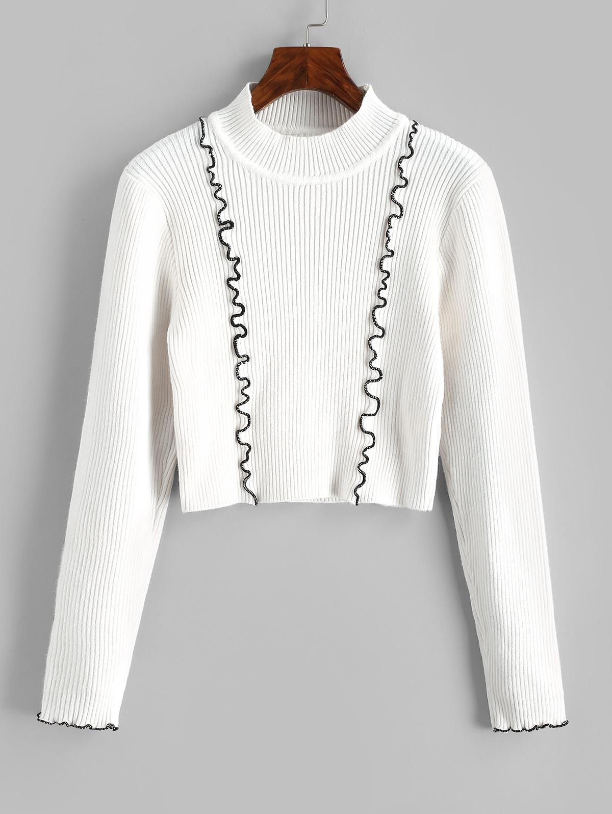 Ribbed Contrast Binding Crop Jumper Sweater