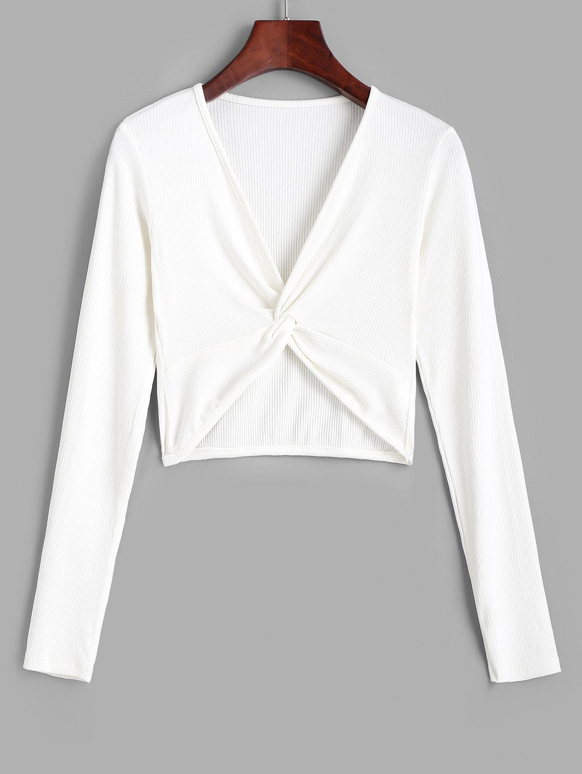 Twist Front Ribbed Cropped Knitwear
