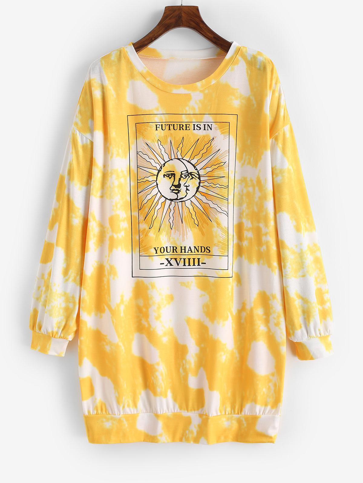 Tie Dye Moon and Sun Drop Shoulder Sweatshirt Dress