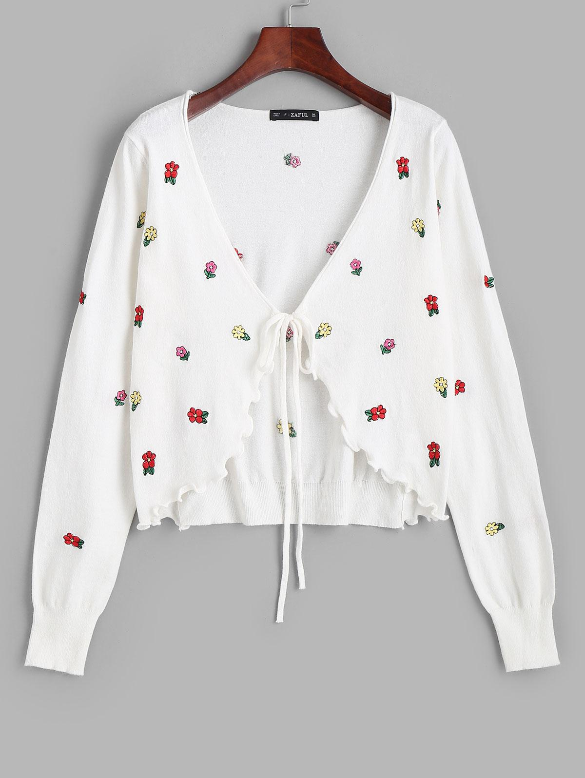 Tie Front Ditsy Floral Embroidered Cardigan