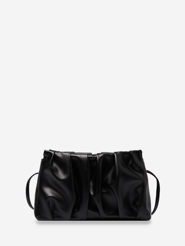 Pleated Solid Crossbody Bag
