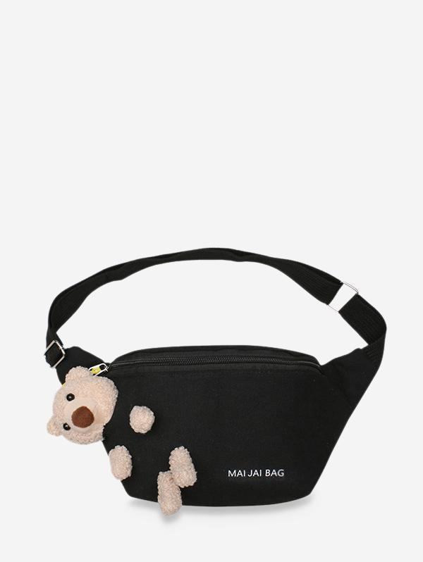 Bear Embellished Canvas Crossbody Bag