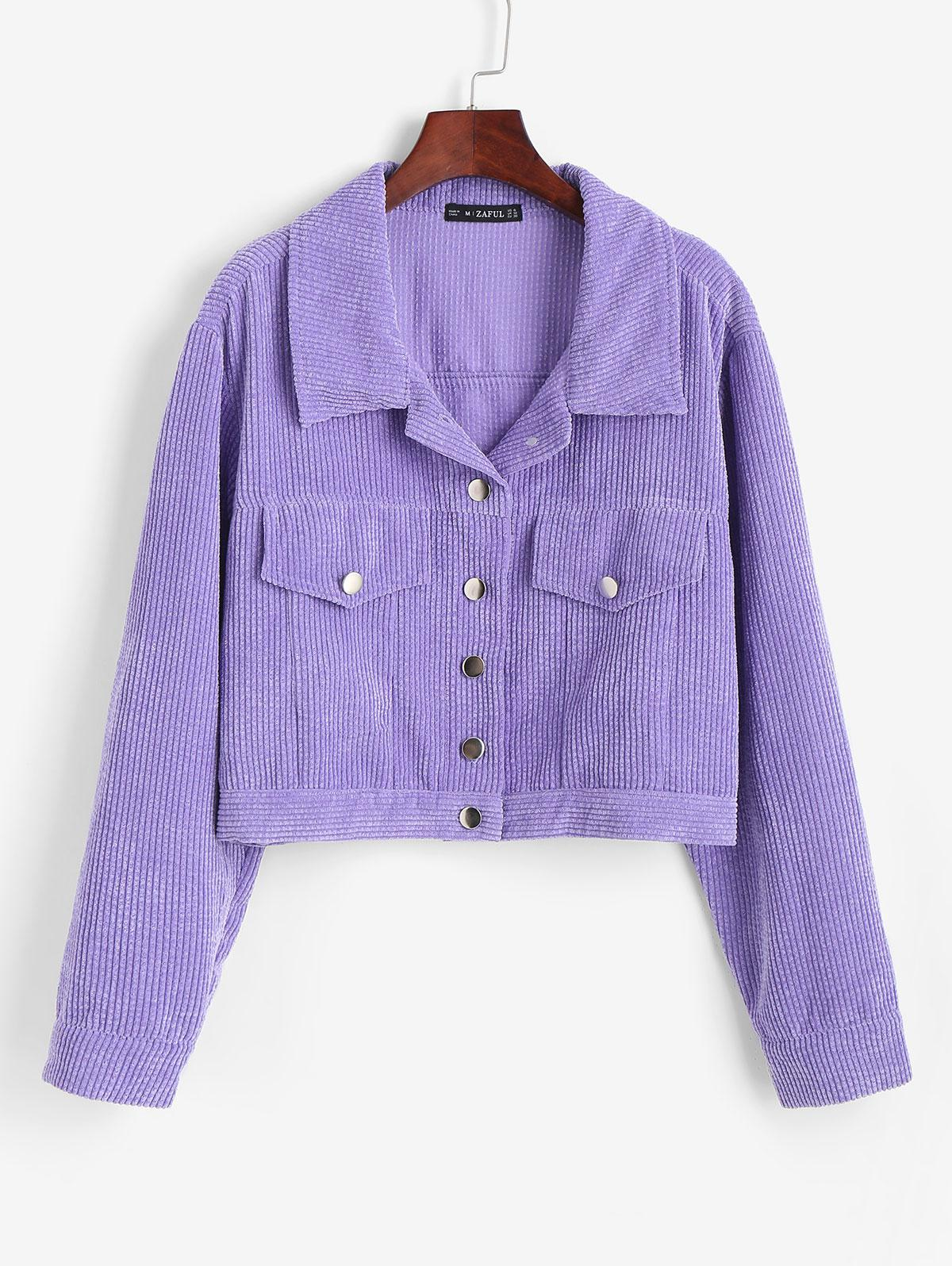 ZAFUL Mock Pocket Corduroy Jacket